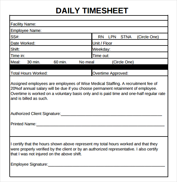20+ Daily Timesheet Templates Free Sample, Example Format