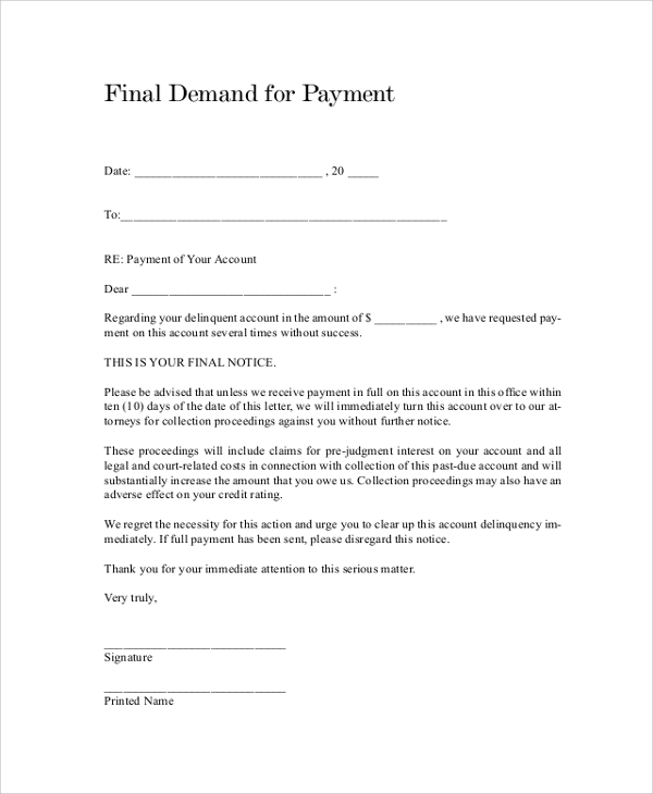 template for letter of demand sample demand letter 7 documents in