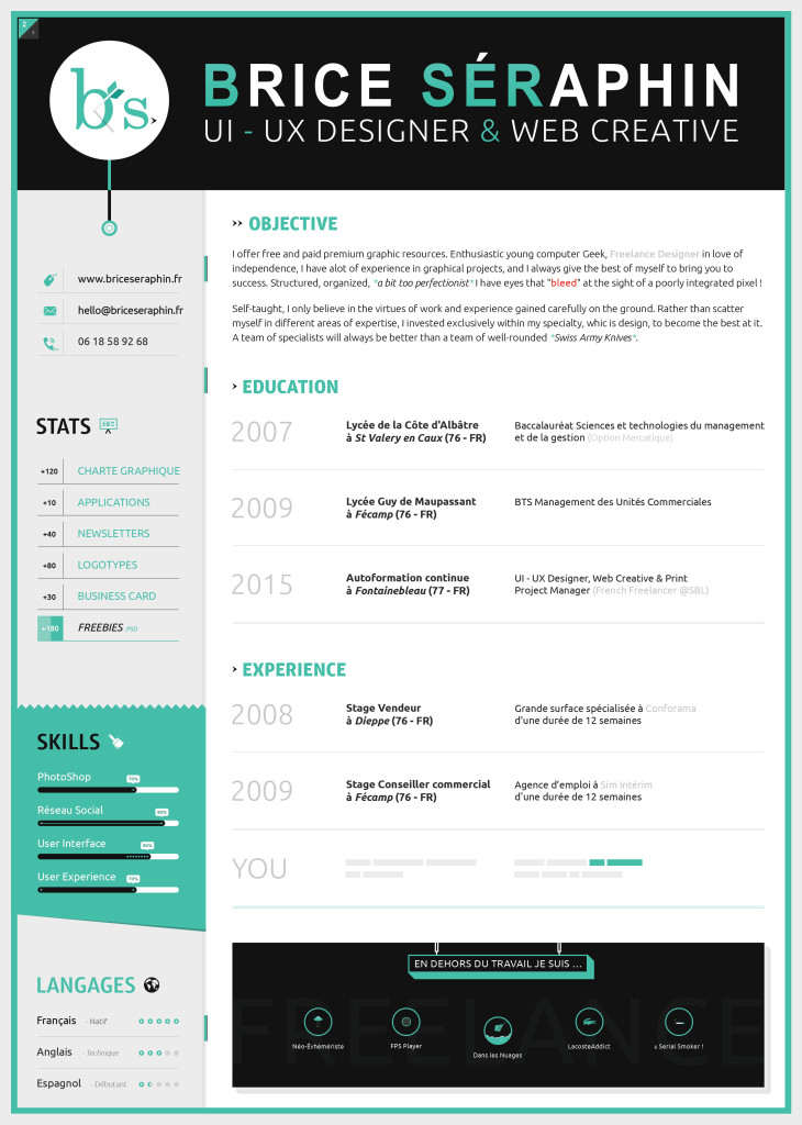 Well designed resumes resume inner page by brice s c 3 a 9 raphin
