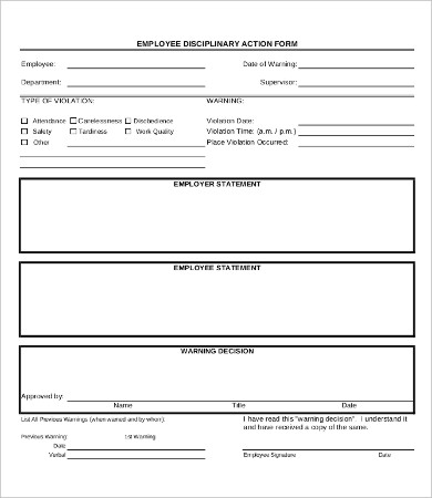 Free Employee Disciplinary Action (Discipline) Form PDF | Word