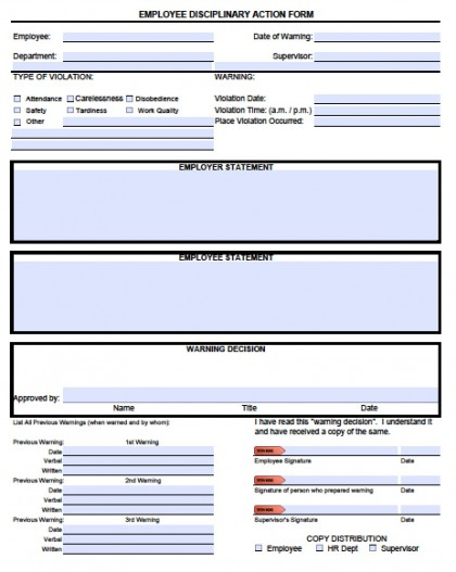 disciplinary forms for employees template disciplinary forms for