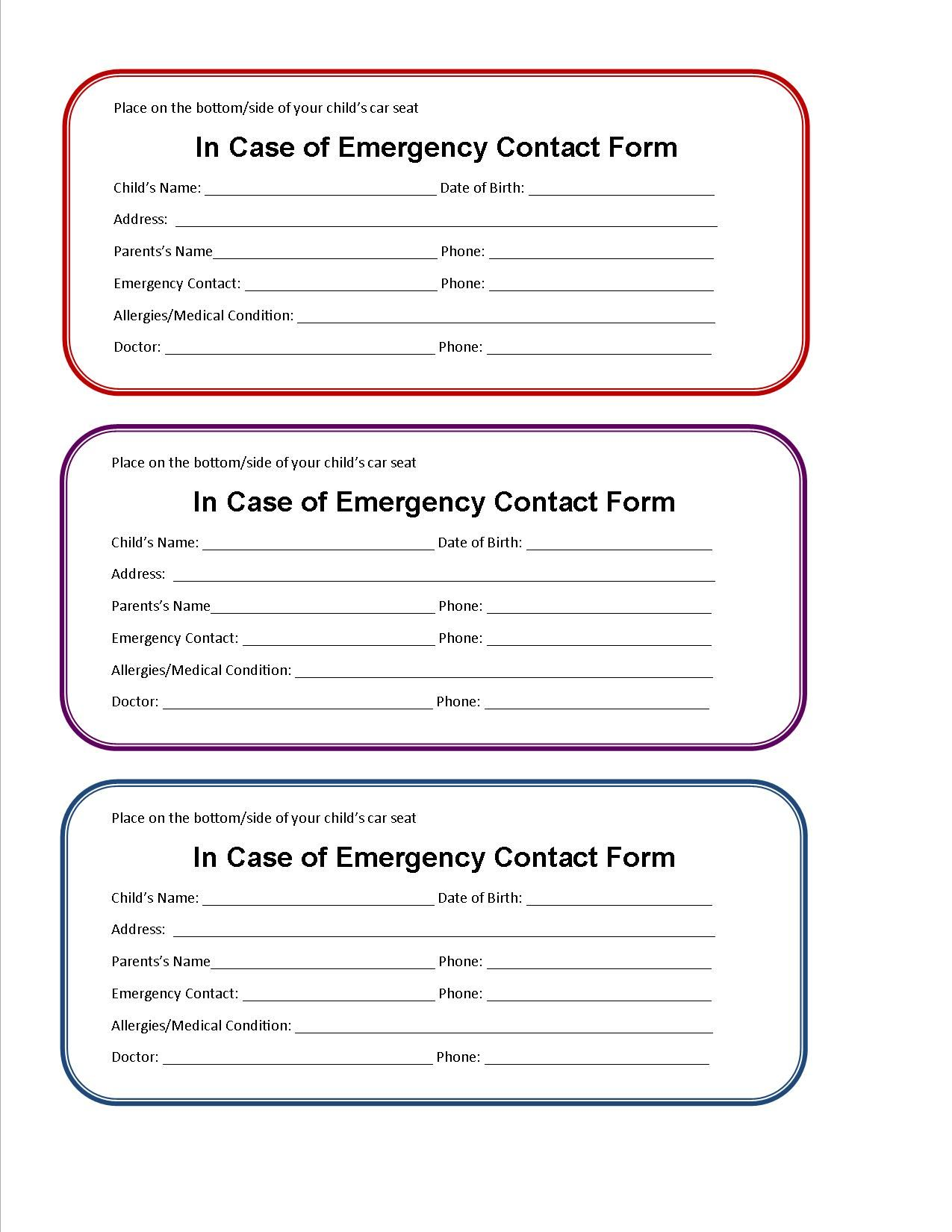 Printable Emergency Contact Form for Car Seat | Emergency