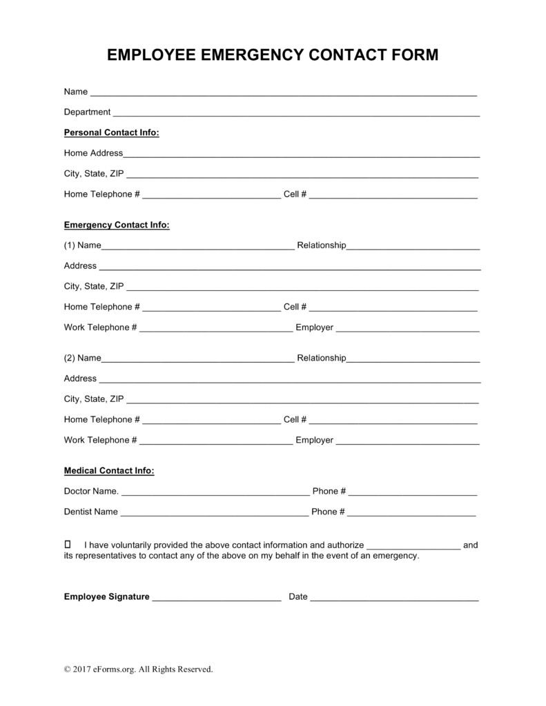 Free Employee Emergency Contact Form PDF | Word | eForms – Free