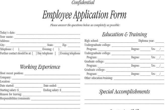 Employee Form. Employee Application Form Employee Forms Template