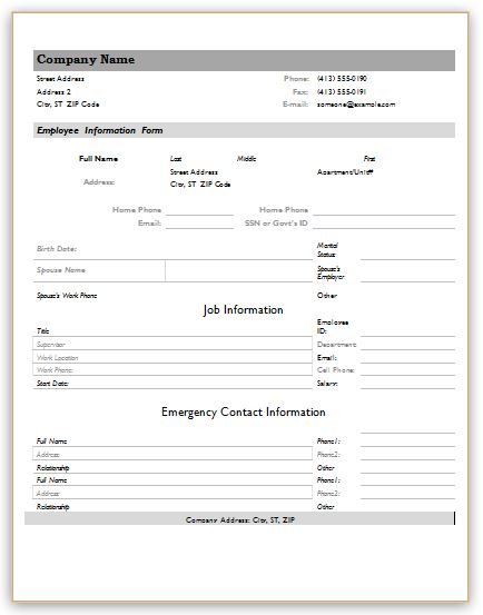 employee forms templates employee information forms for ms word