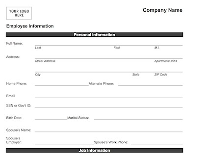 employee form Bare.bearsbackyard.co