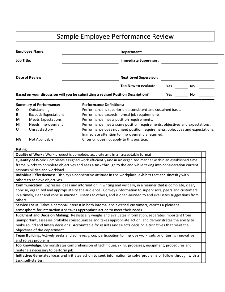sample employee performance