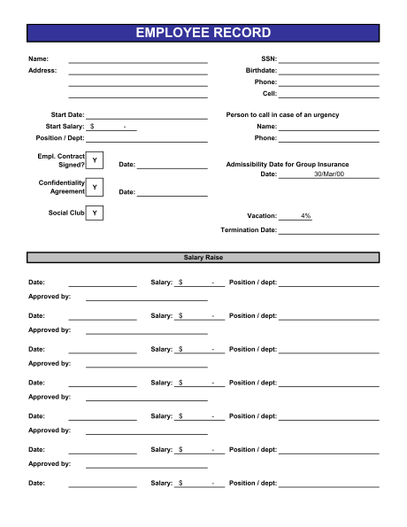 employee record form template employee record templates 26 free
