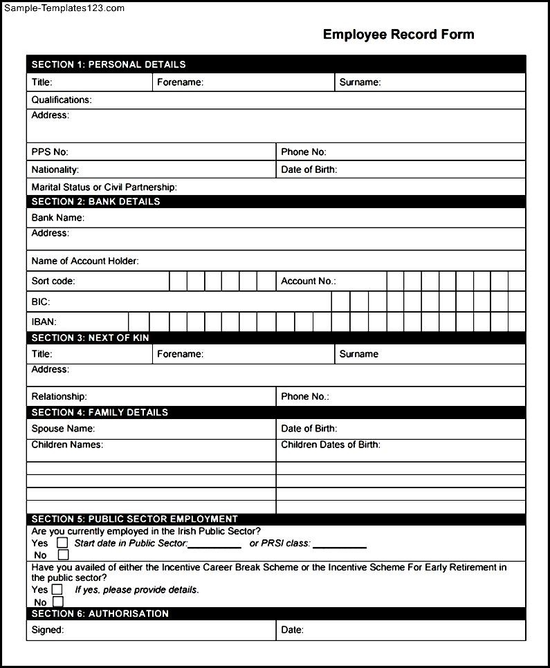 employee record form template employee records forms