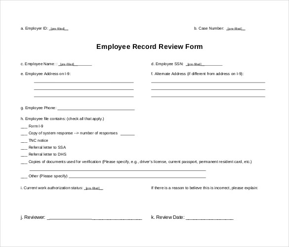 employee record form template employee record sheet