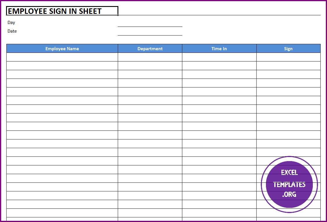 Free Printable Sign Up Sheets | Free Printable Employee or Guest