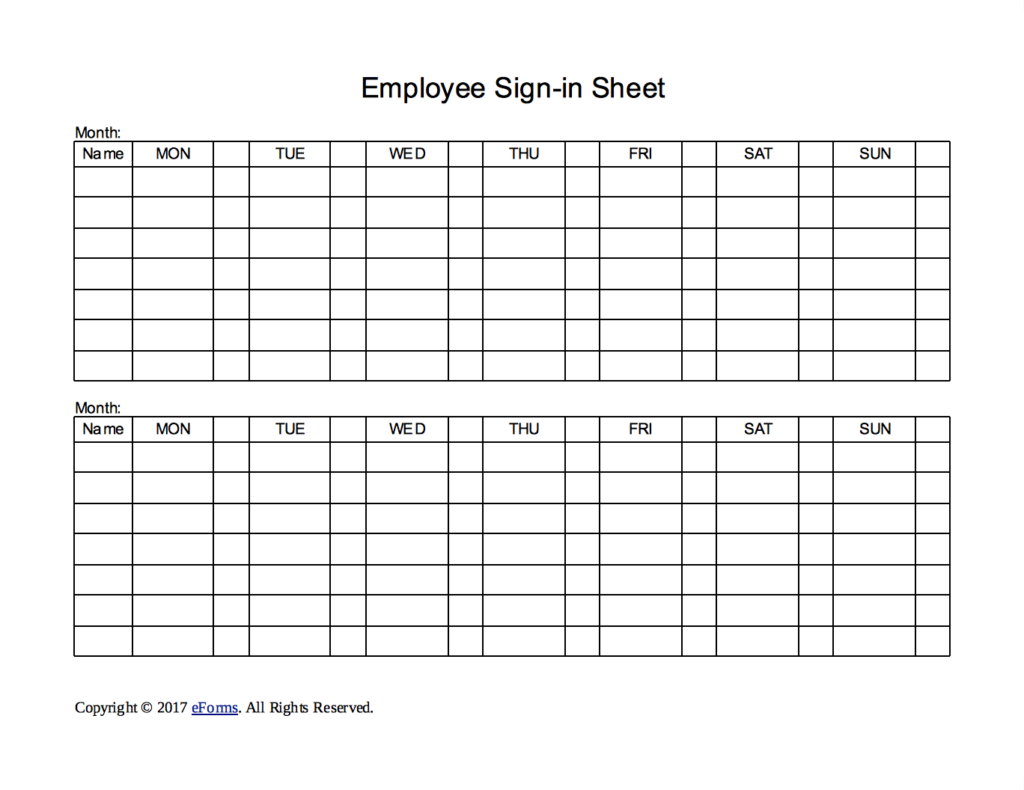 Employee Sign In Sheets 8+ Free Word, PDF, Excel Documents