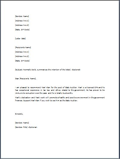 Endorsement Letter Sample | Crna Cover Letter