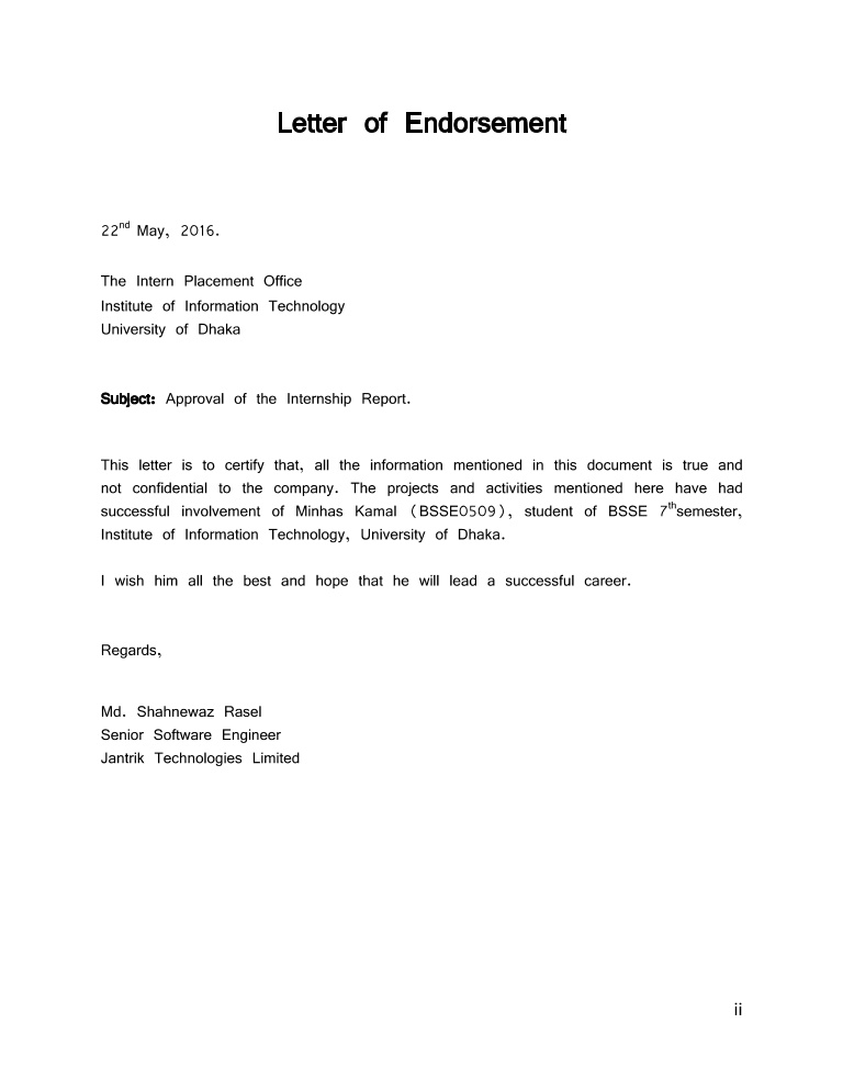Sample Endorsement Letter. Endorsement Letter Template Nursing