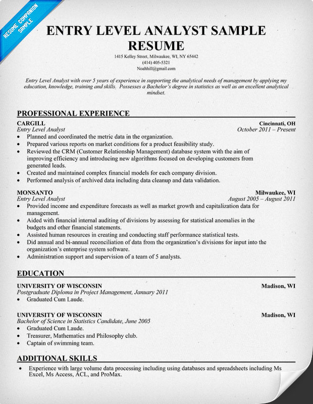 Entry Level Business Analyst Resume jmckell.Com