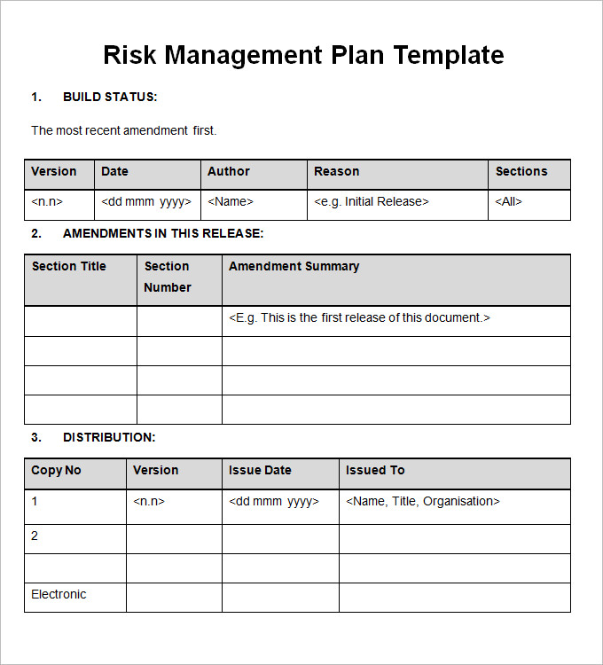 Risk Management Plan Free Word Documents Download | Free