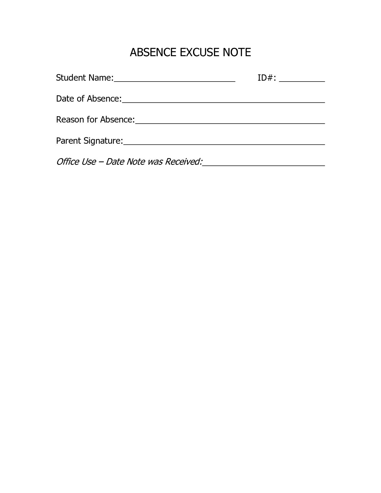 Charming School Absence Note Template Inspiration Absence Excuse