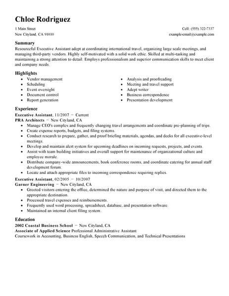Best Executive Assistant Resume Example | LiveCareer