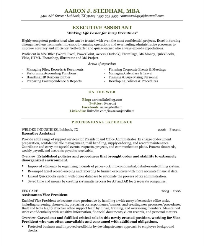 Executive Assistant Resume Aaron J Stedham