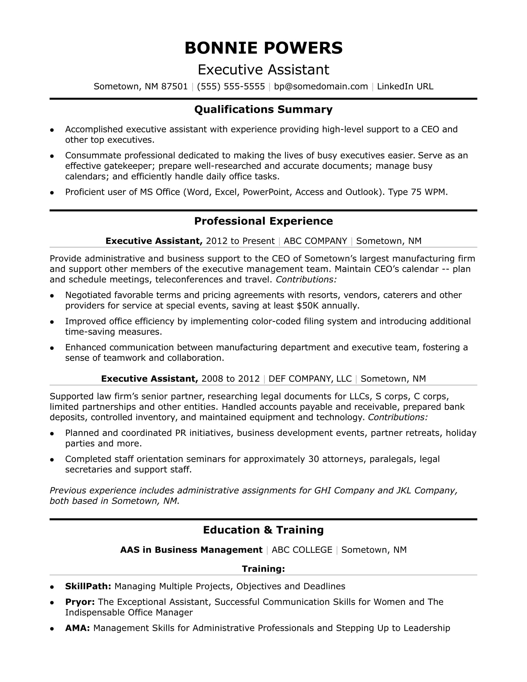 Executive Administrative Assistant Resume Sample | Monster.com