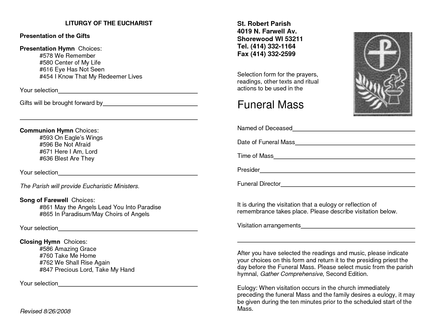 catholic funeral mass program template Leon.escapers.co