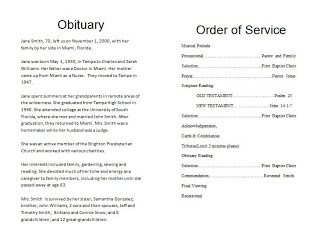 funeral obituary template mobile discoveries