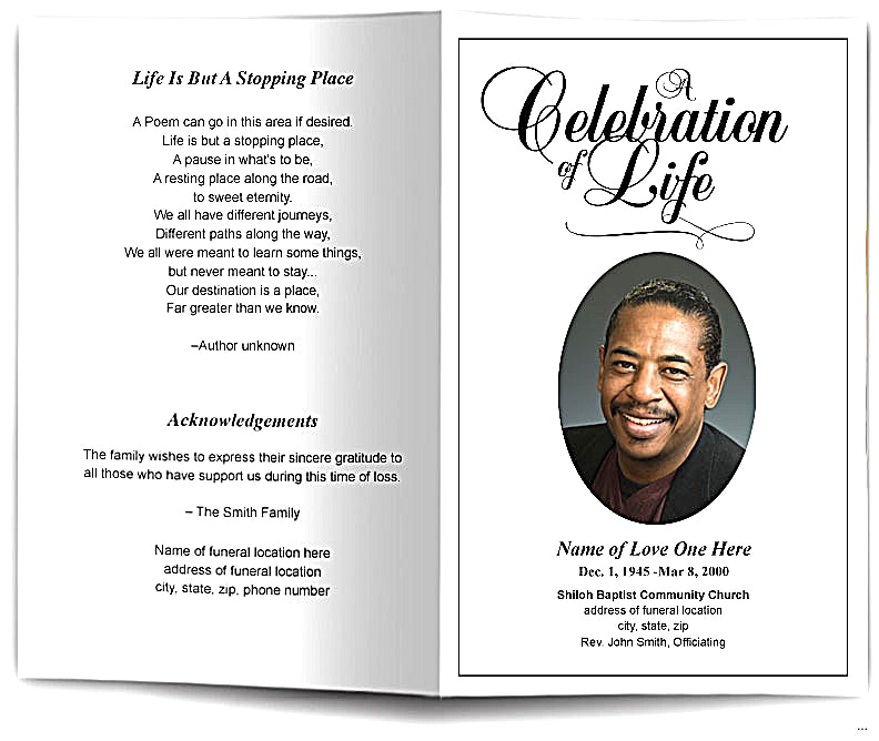 Memorial service program template admirable photo funeral obituary