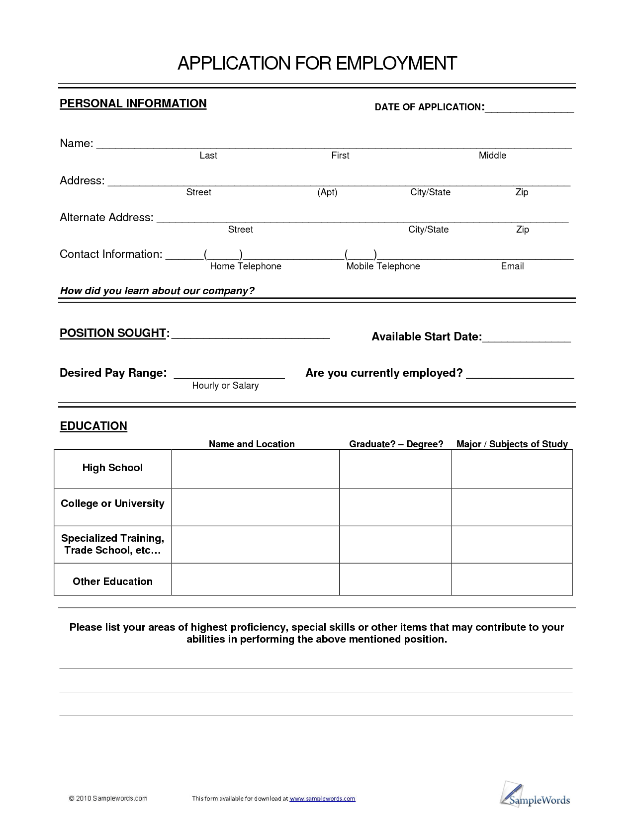 General blank job application printable form suitable meanwhile