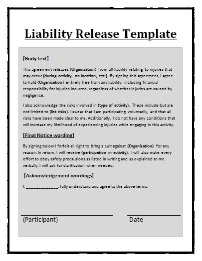 release of liability agreement template free printable liability