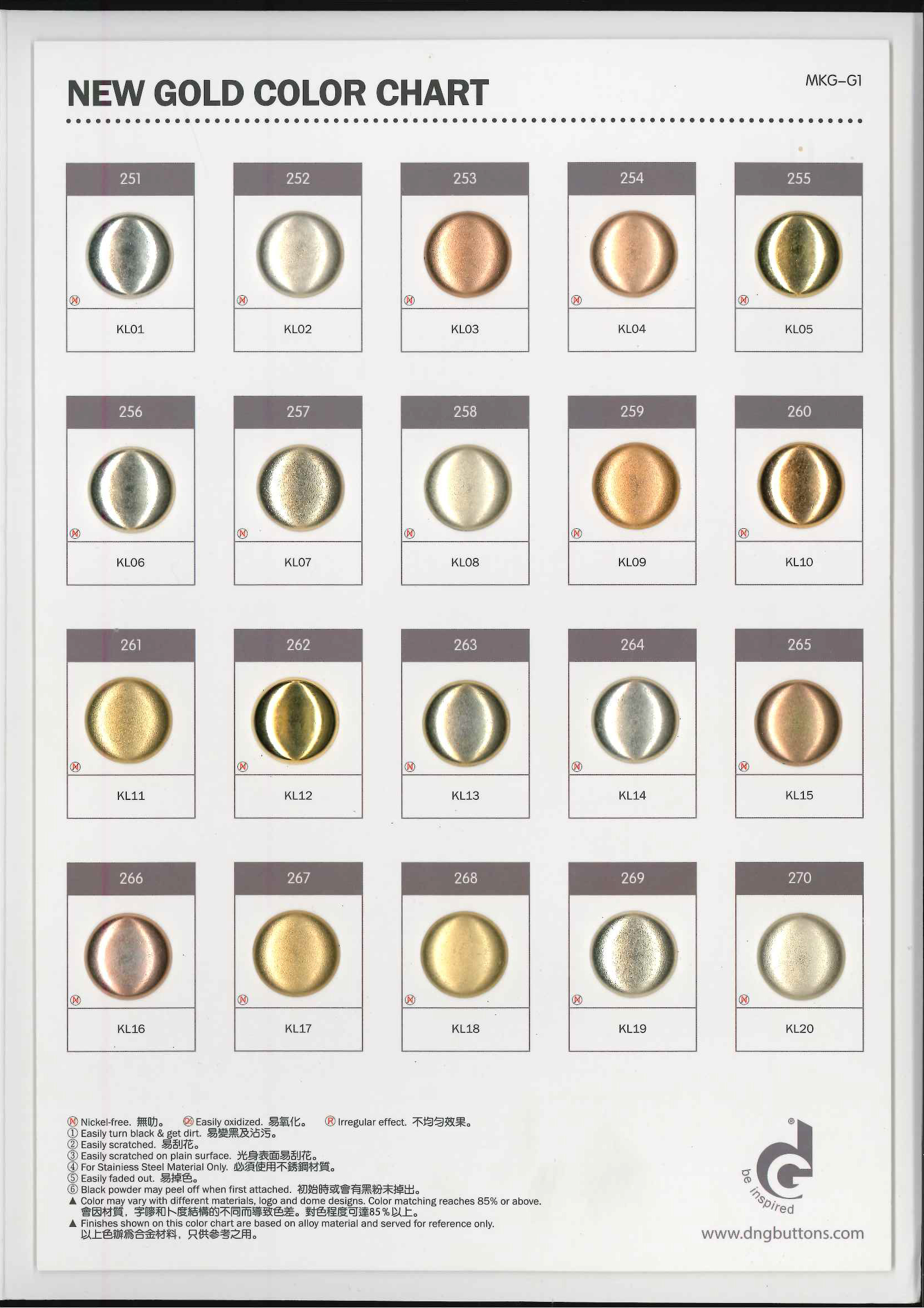 Color Chart | DNG BUTTONS