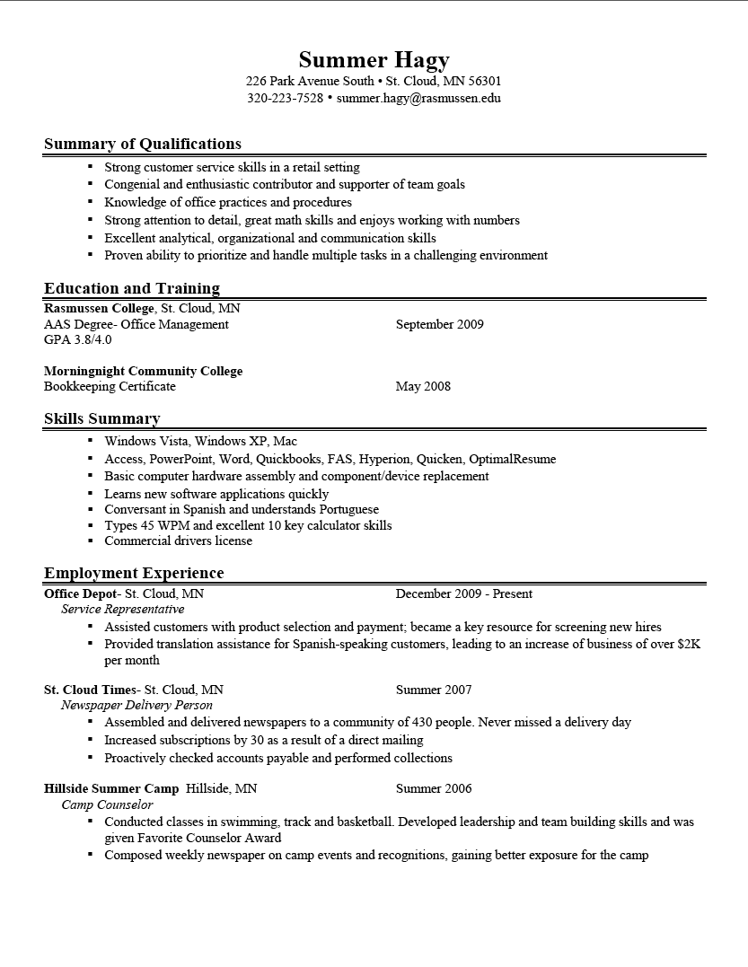 great resume examples Of A Good Resume Great 10 Download summary