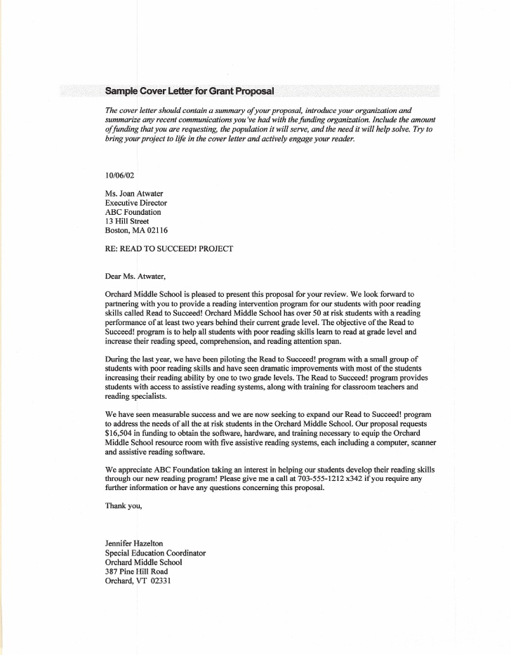 Grant Proposal Cover Letter Looking For Grant Cover Letter The for