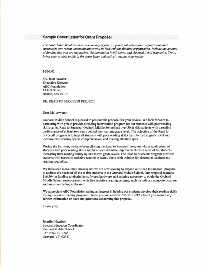 sample cover letter for grant application for funding letter