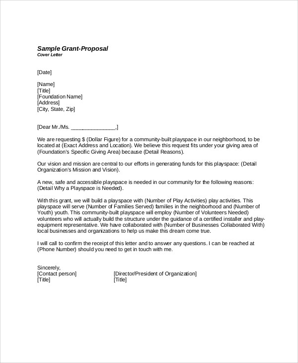 sample cover letter for grant cover letter grant proposal