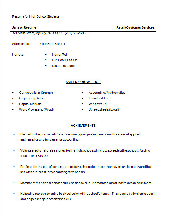 high school student resume examples Endspiel.us