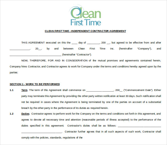 house cleaning contract example Yeni.mescale.co