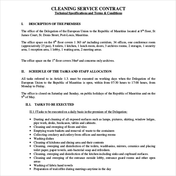 cleaning service agreement template cleaning contract template 27