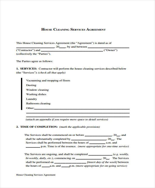 house cleaning contract template Yeni.mescale.co