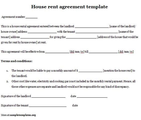 house rental agreement template printable sample simple room