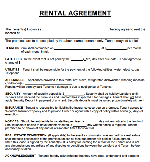 property rental agreement template 20 rental agreement templates