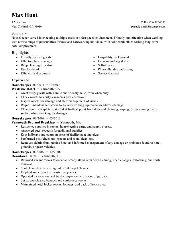 Housekeeper Resume Sample housekeeper hotel and hospitality