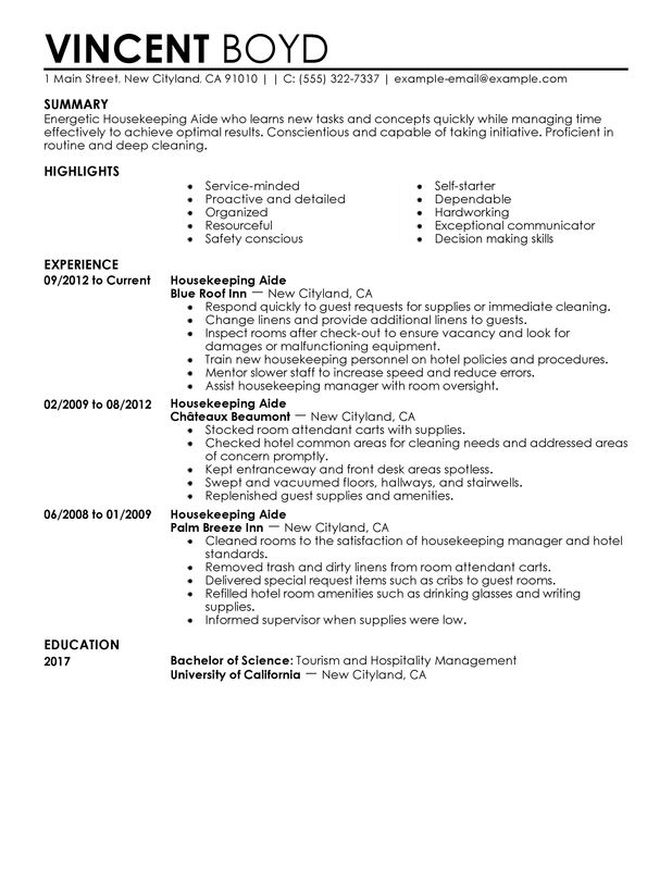 Sample Of Housekeeping Housekeeping Resume Sample Luxury Sample