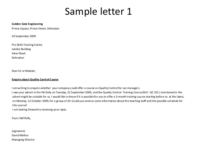 16 Business letter inquiry and reply standart – paulmas.info