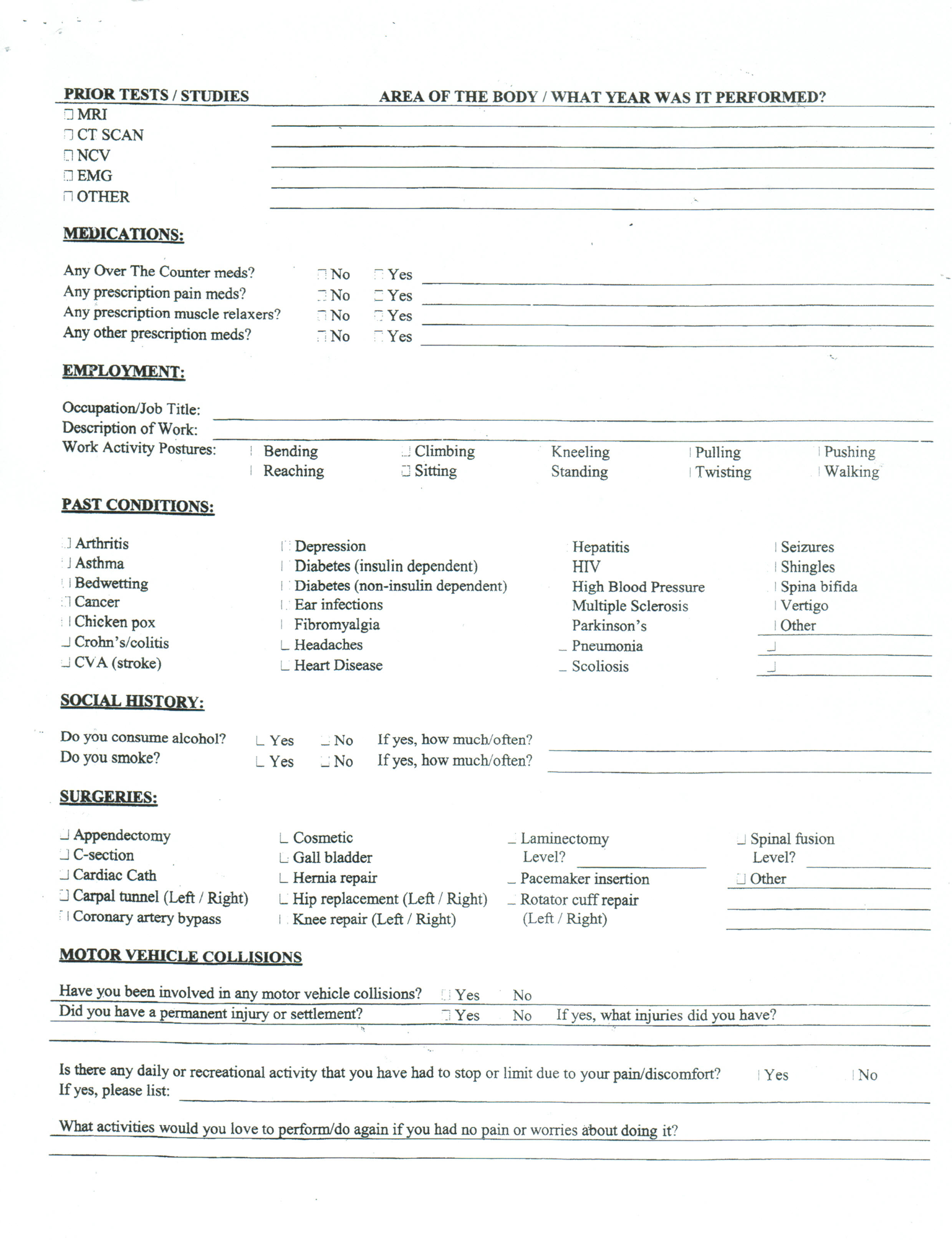 Patient Intake Forms