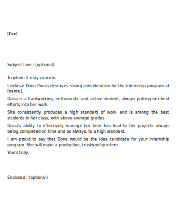 7+ Sample Internship Reference Letters Free Samples, Examples