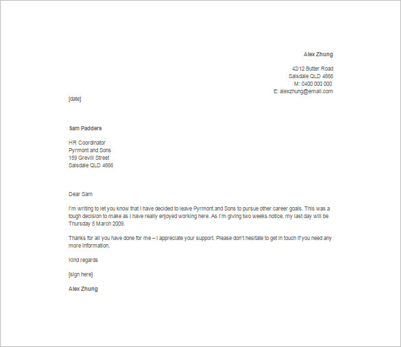 12+ Job Resignation Letter Template Free Word, Excel, PDF