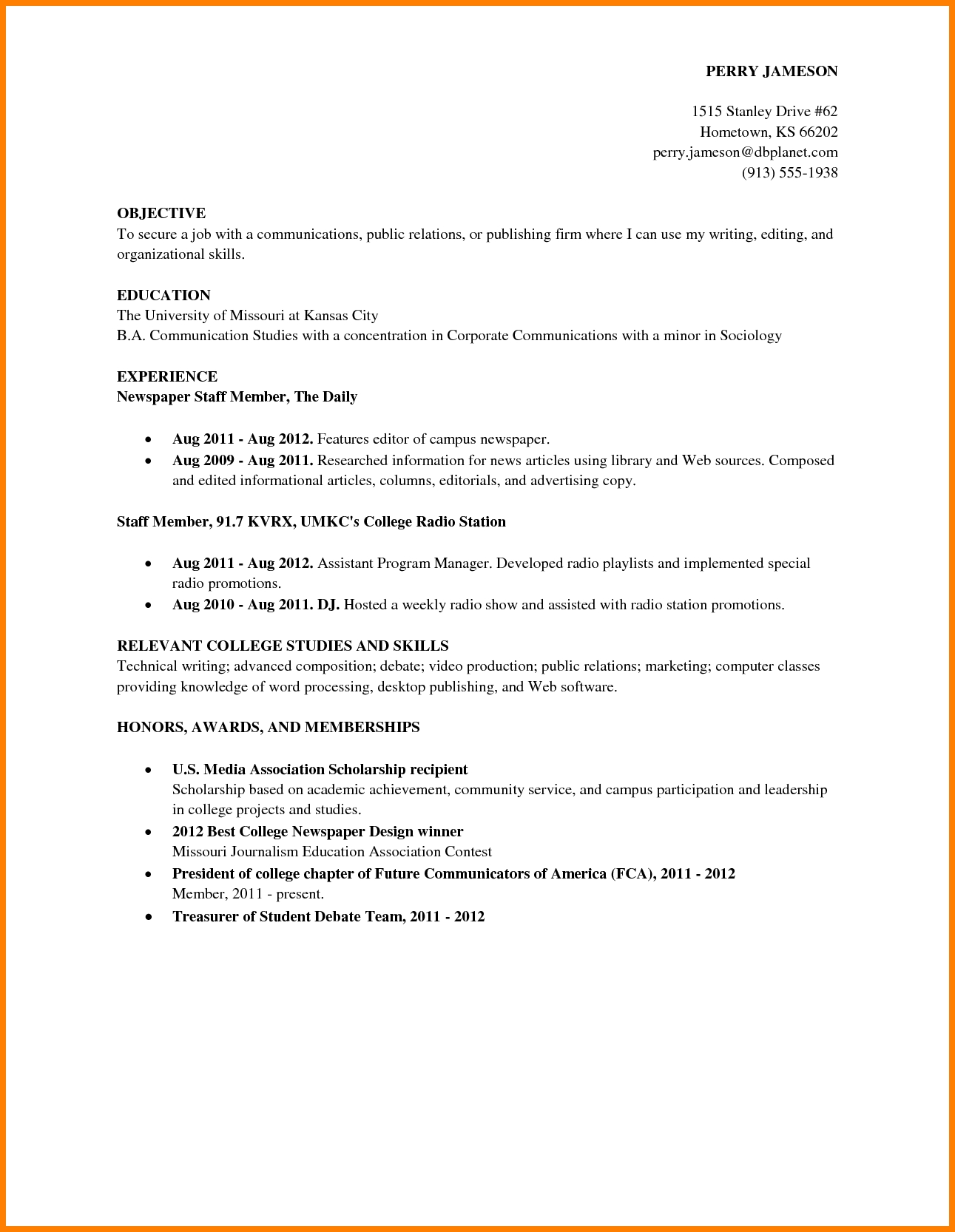 Job Resume Examples For College Students Examples Of Resumes