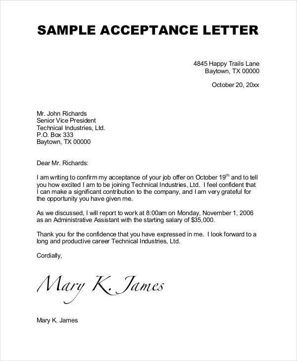 acceptance letter examples Yeni.mescale.co