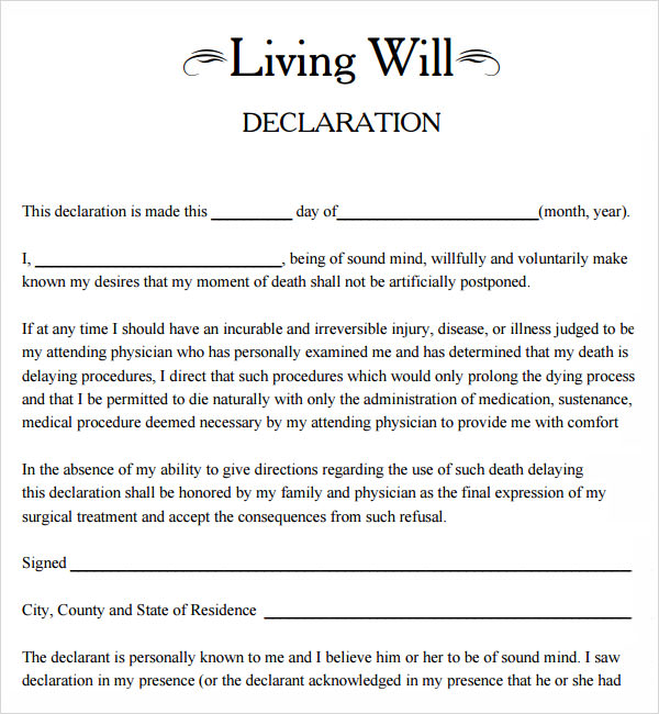 Will Free Template Sample Living Will 8 Documents In Pdf Safero
