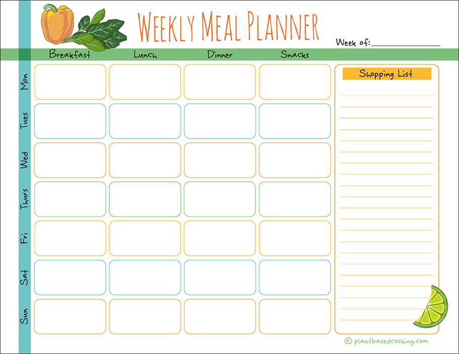 Weekly Meal Planner Printable – Day Designer
